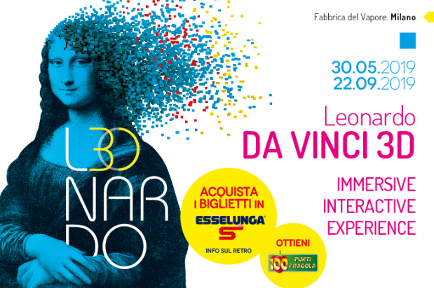 Promocard mostra Leonardo da Vinci in 3D